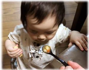離乳食の漆スプーン