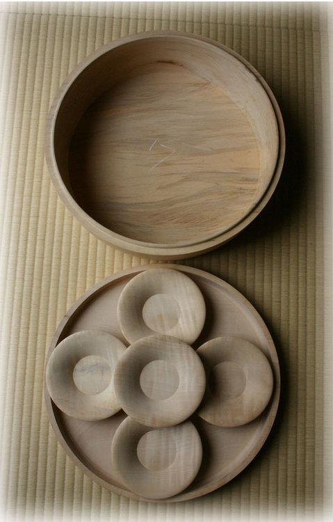 オーダーの茶櫃と茶托 国産漆