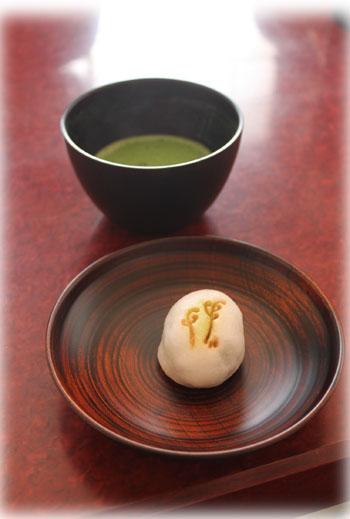 国産漆 生菓子とお抹茶
