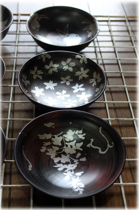 香川漆器 小皿 藤 桜 椿 絵付け 和うるし工房あい  松本和明